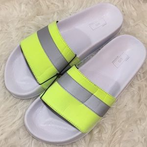 Neon reflective security yellow slides